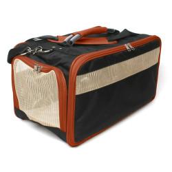 Bark-n-Bag Cotton Canvas Classic Pet Carrier - Black/Saddle | PrestigeProductsEast.com