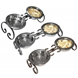 Classic Wrought Iron Diners w/ Stainless Steel Embossed Bowls | PrestigeProductsEast.com