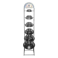 Non-Tip Stainless Steel Bowl Display Rack | PrestigeProductsEast.com