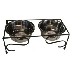 Double Diner Iron Scroll Decor Feeder