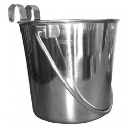 Stainless Steel Flat Sided Bucket with Hooks | PrestigeProductsEast.com