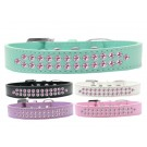 Two Row Light Pink Crystal Dog Collar | PrestigeProductsEast.com