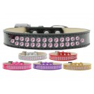 Two Row Light Pink Crystals Ice Cream Dog Collar | PrestigeProductsEast.com