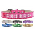 Two Row Pearl and Pink Crystals Ice Cream Dog Collar | PrestigeProductsEast.com