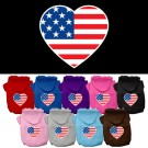 American Flag Heart Screen Print Pet Hoodies | PrestigeProductsEast.com