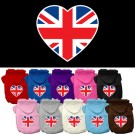 British Flag Heart Screen Print Pet Hoodies | PrestigeProductsEast.com
