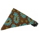 Brown and Blue Pretty Paisley Bandana Pet Collar | PrestigeProductsEast.com