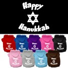 Happy Hanukkah Screen Print Pet Hoodie | PrestigeProductsEast.com