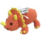 Knit Knacks Bop the Triceratops Organic Cotton Small Dog Toy | PrestigeProductsEast.com