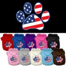 Patriotic Paw Screen Print Pet Hoodie | PrestigeProductsEast.com