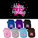 Scribble Happy Holidays Screen Print Pet Hoodie | PrestigeProductsEast.com