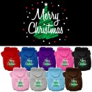 Scribbled Merry Christmas Screen Print Pet Hoodie | PrestigeProductsEast.com