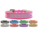 Three Row Clear Crystal Ice Cream Dog Collar | PrestigeProductsEast.com